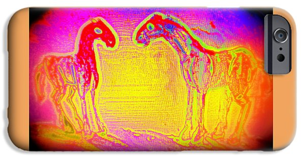 Arousal Paintings iPhone Cases - Horses I  iPhone Case by Hilde Widerberg