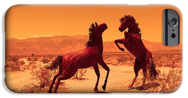 Horse Sculptures iPhone Cases - Horses playing in the desert iPhone Case by Mauricio J Fuentez