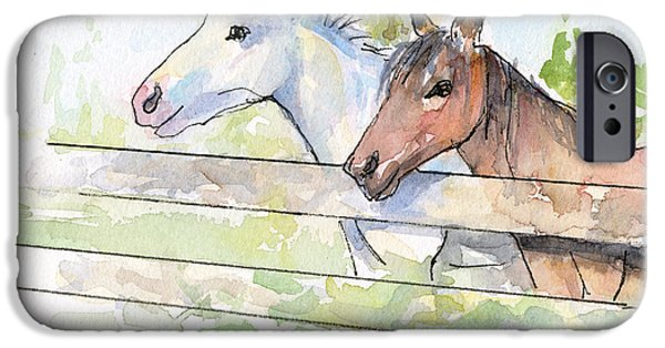 Barns Mixed Media iPhone Cases - Horses Watercolor Sketch iPhone Case by Olga Shvartsur
