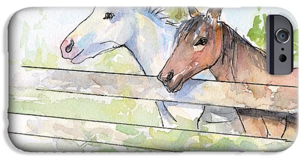 Watercolor Mixed Media iPhone Cases - Horses Watercolor Sketch iPhone Case by Olga Shvartsur