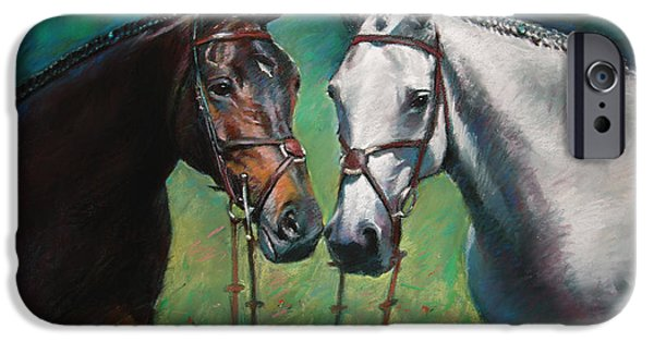 Animals Pastels iPhone Cases - Horses iPhone Case by Ylli Haruni