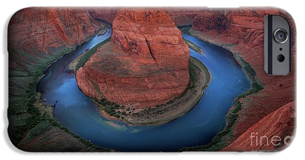 Harsh iPhone Cases - Horseshoe Bend Sunrise iPhone Case by Inge Johnsson