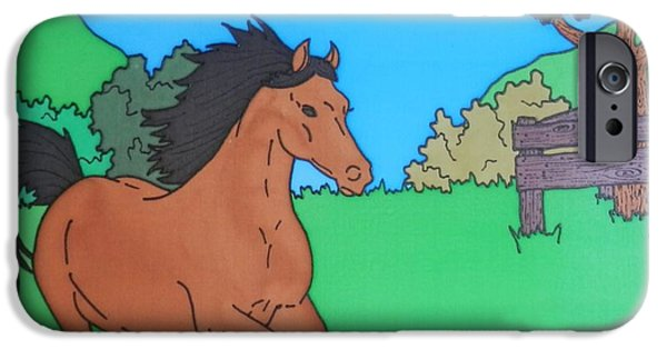 Horse Tapestries - Textiles iPhone Cases - Horsey Heaven iPhone Case by Joanne Oram
