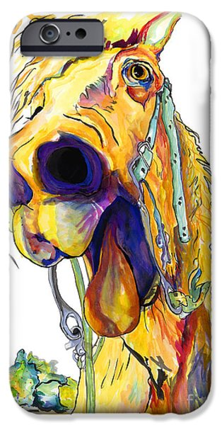 Animals Mixed Media iPhone Cases - Horsing Around iPhone Case by Pat Saunders-White