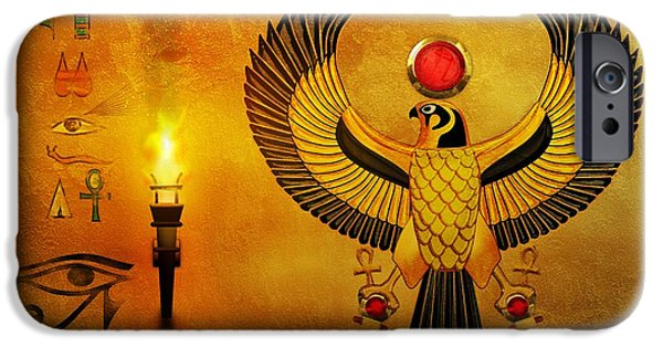 Horus Digital Art iPhone Cases - Horus Falcon God iPhone Case by John Wills
