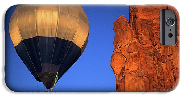 Hot Air Balloon iPhone Cases - Hot Air Balloon Monument Valley 2 iPhone Case by Bob Christopher
