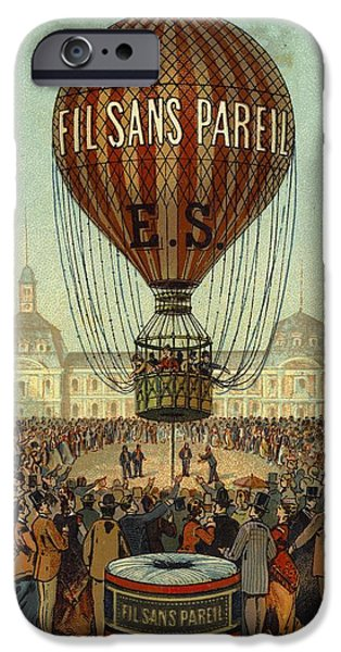 Hot Air Balloon iPhone Cases - Hot Air Balloon With People And Filsans iPhone Case by Gillham Studios