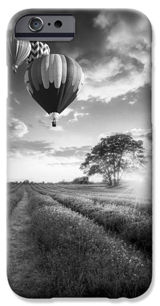 Pleasure iPhone Cases - Hot air balloons flying over lavender landscape sunset in black  iPhone Case by Matthew Gibson