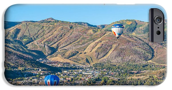 Hot Air Balloon iPhone Cases - Hot Air Balloons Over Park City in Autumn iPhone Case by James Udall