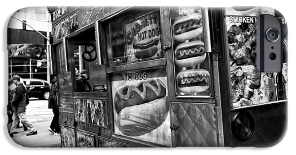 Hot Dogs iPhone Cases - Hot Dogs on the Corner in NYC mono iPhone Case by John Rizzuto