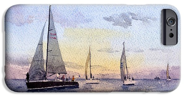 Sailboat Ocean iPhone Cases - Hot Pursuit iPhone Case by Max Good