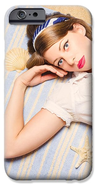1950s Portraits iPhone Cases - Hot retro pinup girl lying on beach in Australia iPhone Case by Ryan Jorgensen