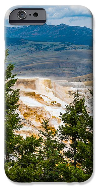 Pines iPhone Cases - Hot Springs at Yellowstone iPhone Case by Joni Sue Thum