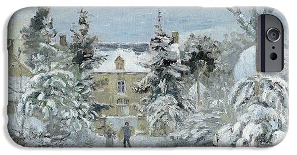 Camille Pissarro iPhone Cases - House at Montfoucault iPhone Case by Camille Pissarro