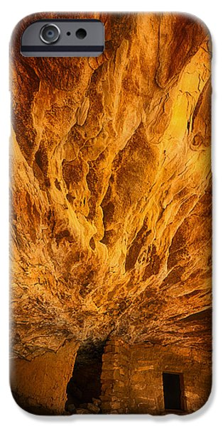 Ruins Pyrography iPhone Cases - House on Fire Indian Ruins iPhone Case by Robert Rinsem