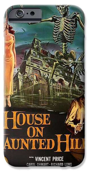 1950s Movies Mixed Media iPhone Cases - House On Haunted Hill 1958 iPhone Case by Mountain Dreams