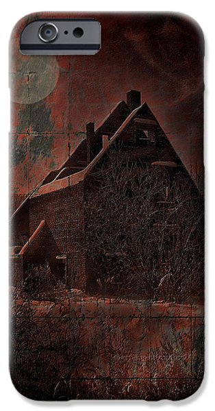 Haunted House iPhone Cases - House With A Story To Tell iPhone Case by Mimulux patricia no