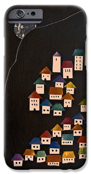 Sailboat Mixed Media iPhone Cases - Houses By the Sea iPhone Case by Barbara Kinnick