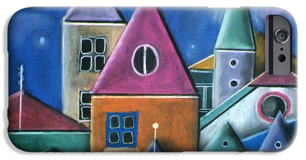 Village Pastels iPhone Cases - Houses iPhone Case by Caroline Peacock