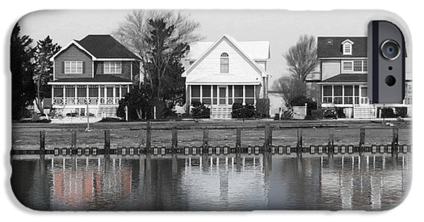 Beach Landscape iPhone Cases - Houses in Black and White iPhone Case by Dawn Gari