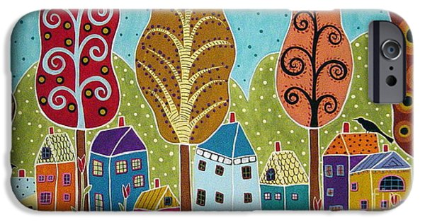 Folk Art Mixed Media iPhone Cases - Houses Trees Birds Painting by Karla G iPhone Case by Karla Gerard