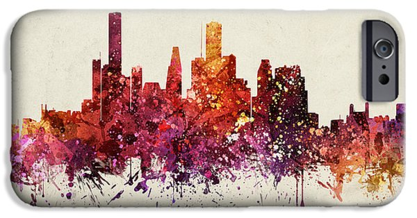 Colour Drawings iPhone Cases - Houston Cityscape 09 iPhone Case by Aged Pixel