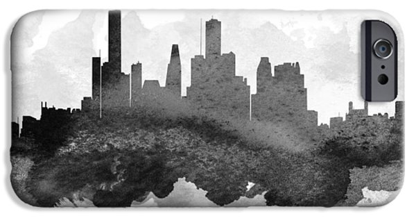 Down Town iPhone Cases - Houston Cityscape 11 iPhone Case by Aged Pixel