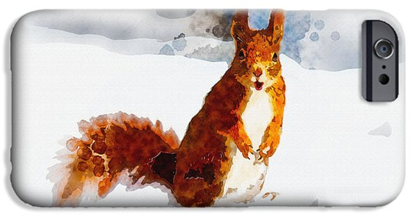 Tree Art Print iPhone Cases - How comedic are squirrels iPhone Case by Don Kuing