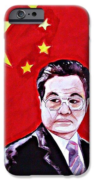 Politician iPhone Cases - Hu Jintao 2010 iPhone Case by Ken Higgins