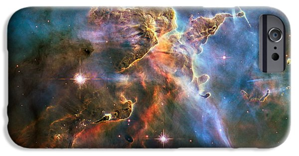 Stellar iPhone Cases - Hubble Captures Spectacular Landscape in the Carina Nebula iPhone Case by Eric Glaser