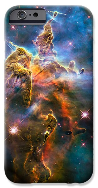 Constellations iPhone Cases - Hubble Captures View of Mystic Mountain iPhone Case by Marco Oliveira