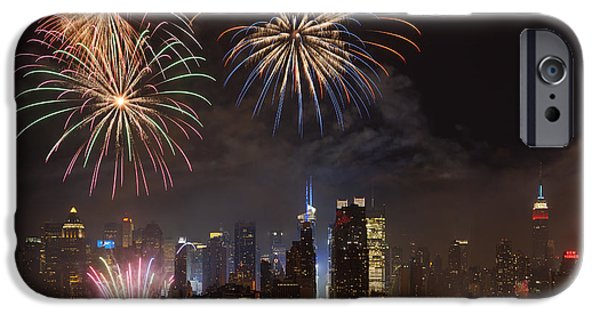 4th July iPhone Cases - Hudson River Fireworks IV iPhone Case by Clarence Holmes