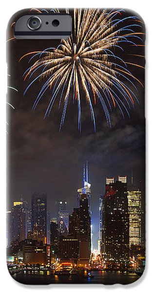 Hudson River Fireworks IV iPhone Case by Clarence Holmes