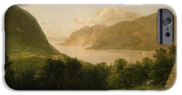 Kensett iPhone Cases - Hudson River Scene iPhone Case by John Frederick Kensett
