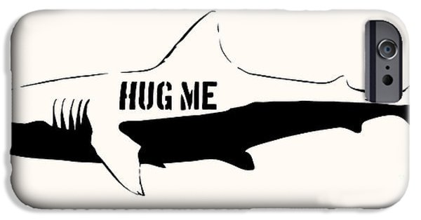Stencil iPhone Cases - Hug me shark - Black  iPhone Case by Pixel  Chimp