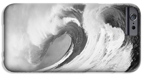 Turbulent Skies iPhone Cases - Huge Curling Wave - BW iPhone Case by Ali ONeal - Printscapes