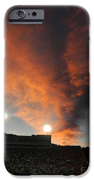Fort Collins Photographs iPhone Cases - Hughes Stadium Sunset iPhone Case by Sara  Mayer
