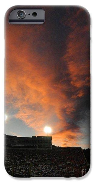 Hughes Stadium Sunset iPhone Case by Sara  Mayer