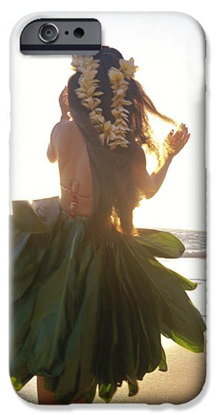 Gray Hair iPhone Cases - Hula At Sunrise iPhone Case by Tomas del Amo - Printscapes