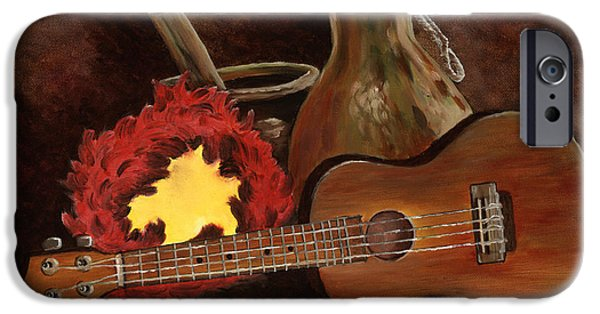 Ukelele iPhone Cases - Hula Implements iPhone Case by Larry Geyrozaga