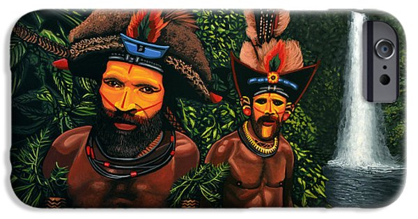 Feathered Hat iPhone Cases - Huli men in the jungle of Papua New Guinea iPhone Case by Paul Meijering