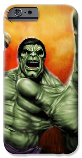 HULK iPhone Case by Pete Tapang