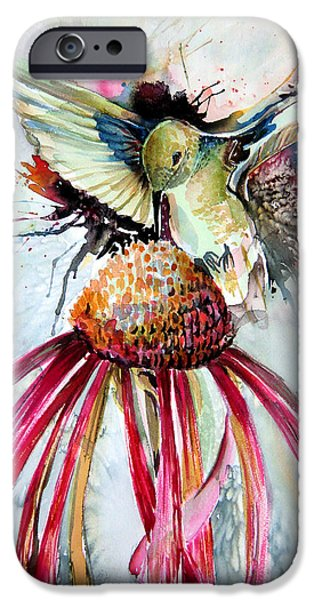 Botanical Drawings iPhone Cases - Humming Bird iPhone Case by Mindy Newman