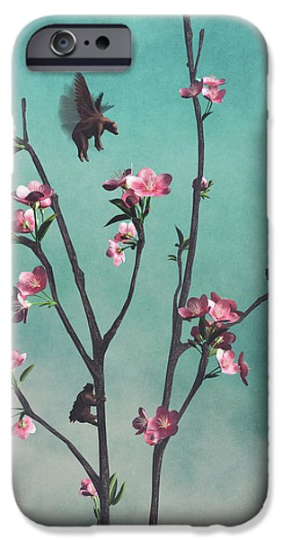 Cherry Blossoms iPhone Cases - Hummingbears iPhone Case by Cynthia Decker