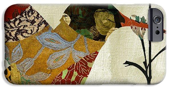 Hummingbird iPhone Cases - Hummingbird Brocade III iPhone Case by Mindy Sommers