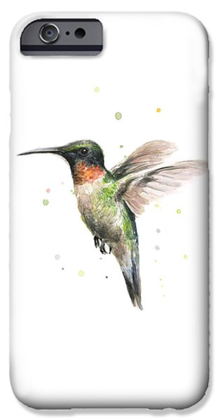Colorful Birds iPhone Cases - Hummingbird iPhone Case by Olga Shvartsur