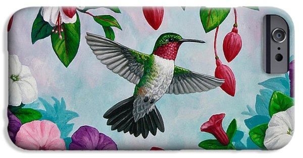 Bird In Flight iPhone Cases - Hummingbird Phone Case H iPhone Case by Crista Forest