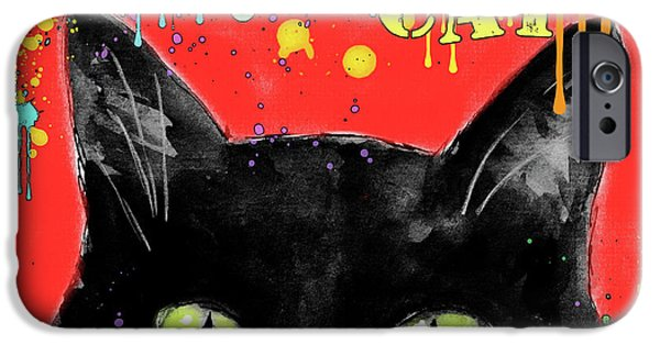 Cat Drawings iPhone Cases - humorous Black cat painting iPhone Case by Svetlana Novikova