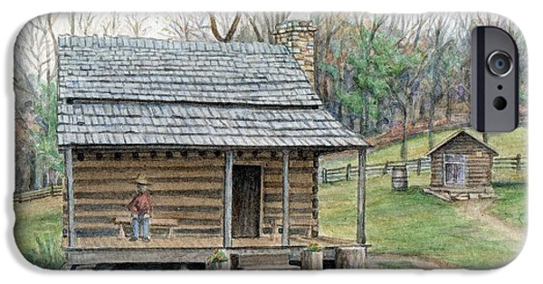 Log Cabin Mixed Media iPhone Cases - Humpback Cabin iPhone Case by Michael  Martin
