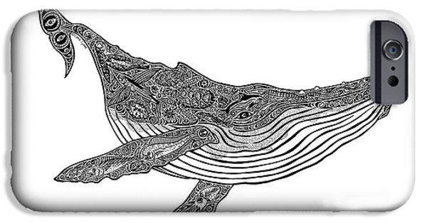 Creative Drawings iPhone Cases - Humpback iPhone Case by Carol Lynne
